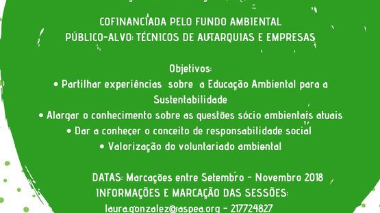A Câmara Municipal de Setúbal e a ASPEA irão promover três ações de formação no âmbito da Sustentabilidade